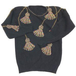 Vintage Sweater 🔔 Mohair Beaded Tassel Med. G166